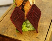 "Earrings 3"" Redwood Leather Leaf, Woodsy, Leaves, Autumn, Fall, Unique, Handmade, Lightweight, Soft, Dangle, Woodland"