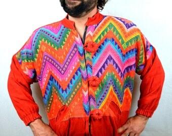 Vintage Ethnic Rainbow Guatemalan Woven Sweater Hippie Jacket Coat