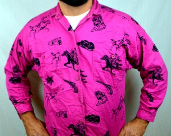 Vintage Southwest PINK Western Horse Sheriff All Over Print Button Up Shirt Top by Sparks