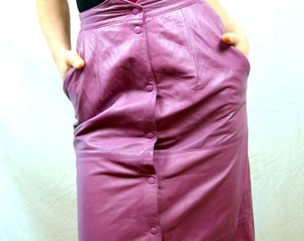 Vintage Purple Lamb Super Soft Leather 80s Rocker Skirt