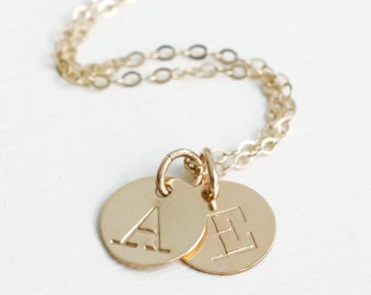 Mothers Gold Initial Necklace / Personalized Two Initial Charm Necklace for Mom / Childrens Initial Necklace / Family Necklace