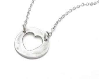 Silver Heart Necklace - Short Length Open Heart Necklace - Sterling Silver - Free Shipping SALE