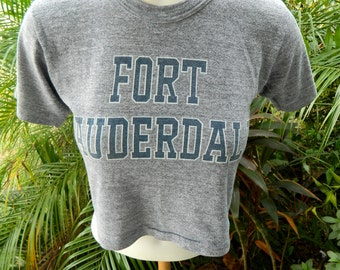 Ft Lauderdale 1980s vintage hafl shirt soft gray size extra small