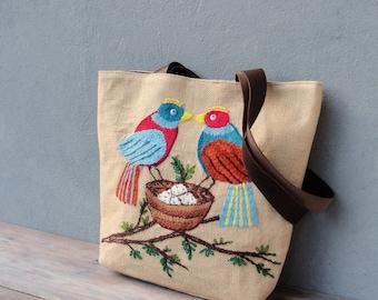 Burlap Leather Bird Tote Natural Woodland Bag