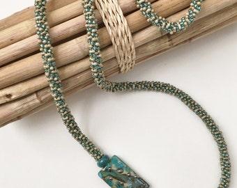 Ocean Blue Aqua Beaded Kumihimo Necklace, Asymmetric Necklace with Artisan Lampwork Focal Bead