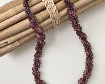Sipping Sangiovese a Fully Beaded Kumihimo Necklace, Featured in Bead Trends Magazine