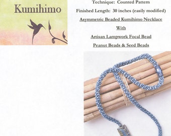 Asymmetric Periwinkle Swirl Tutorial, a Beaded Kumihimo Necklace featuring an Artisan Lampwork Focal Bead, Peanut Beads and Seed Beads