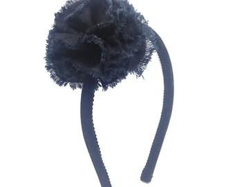 Black Shabby Chic Flower Headband - Skinny Headband Solid Black w/  Shabby Flower, Little Girl Headband, Big Girl Headband, Adult Headband