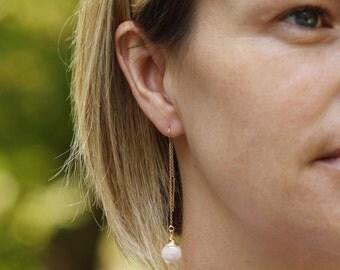 Threader Earrings, Gold Threader Earrings, Long Gold Earrings, Long Gold and Gemstone Earrings, Pink Gemstone Earrings, 14K Gold Earrings