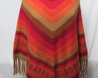 Vintage Poncho Sweater / Shawl / Fall Colors / Lambswool / with Fringe / Fall Fashion Top - Small - Medium