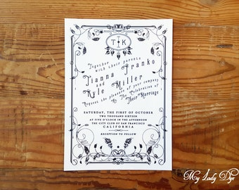 100 Vintage Wedding Invitations Art Deco Invitation Art Nouveau Invitation - Black and White - By My Lady Dye