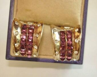 Lavender Clear RhinestoneFlower Clip Gold Tone Earrings