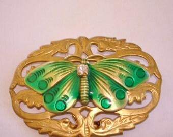 Green Butterfly Rhinestone  Brooch Gold Tone KL Design