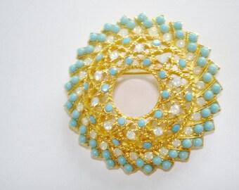 Turquoise Blue Rhinestone Gold Tone Brooch