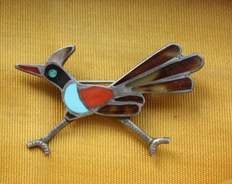 Zuni Inlay Brooch Roadrunner Turquoise Coral Sterling Silver Native American VINTAGE by Plantdreaming