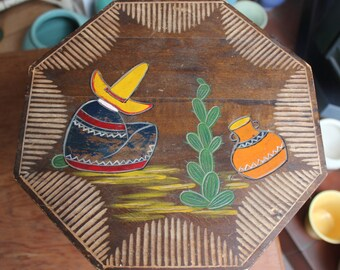 Folk Art Table Mexico Carved Wood Old Small VINTAGE by Plantdreaming