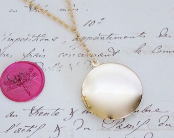 Vintage Inspired Y Necklace w/Extra Large Round Locket - Choice of Sterling Silver, Yellow Gold, or Rose Gold Plate - Nickel Free