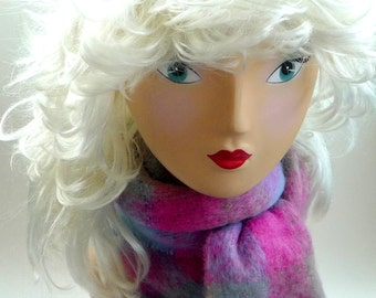 Scarf - Mohair - Woven - Plaid - Ireland - Wool - Fuzzy - Warm - Lightweight - Pastels - Fuchsia Pink - Periwinkle - Sky Blue - Cocoa Beige