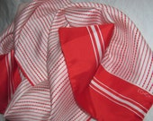 Vintage Rectangular Red Echo Scarf - Red, White Striped Pattern - Long Silk Scarf in Jaunty, Nautical Stripes