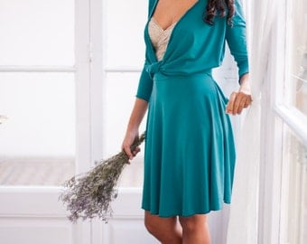 Teal convertible dress, turquoise dress, 3/4 sleeve dress, short wrap dress, petroleum knee-length dress, teal bridesmaids, party dress