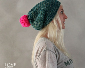 Pom Pom Beanie Hot Pink Green Slouchy Beanie Christmas Hat Gift for Her Hand Knit Beanie- Christmas Gift Winter Accessories Handmade Beanie