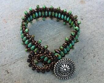Bohemian Beaded Bracelet, Glass Beads, Handmade Jewelry, Woven Bracelet, Turquoise, Super Duo Beads, Hippie Hippy Boho