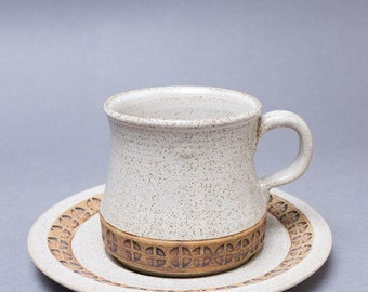 REDUCED Retro 1960s / 1970s Iden Pottery Cup and Saucer with stamped design