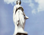 Angel Home Decor, New Orleans Fine Art Print, Angelic #2 Peaceful Wall Art, Louisiana Photography, White, Blue Cemetery Photo, Angel Statue