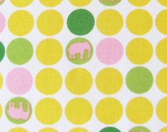 Cotton Fabric- Robert Kaufman Urban Circus Dots with Elephants in Spring