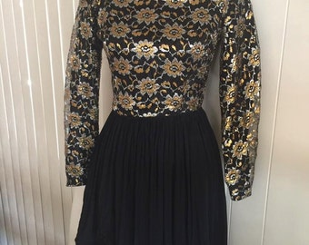 Sassy Vintage Chiffon and Lurex Dress -- 1960's -- Fun -- Flirty -- Size S