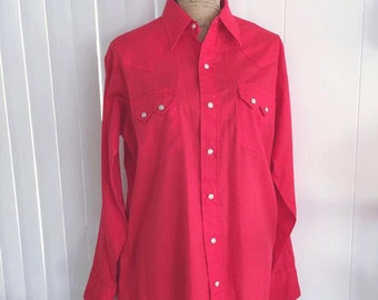 Vintage Red Western Cowboy Shirt with pearl snap buttons -- Size L