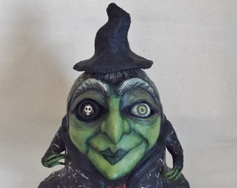 Halloween Witch Doll Sale and Free Shipping Sculpture Folk Art OOAK One Eye Wicked