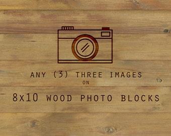 Wood Mounted Art, art on wood, Any three 8x10 inch, print on wood, wood wall art, home decor, ready to hang, wood photo blocks, birch wood