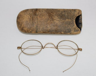 Rare Antique Edwardian Eyeglasses // Early 1900s Gold Metal Optical Glasses With Case // Oval Lens Spectacles