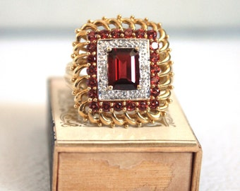 SALE // Stunning Vintage 10 K Gold /  Diamond and Tourmaline Cocktail Ring // Red Stone Ring