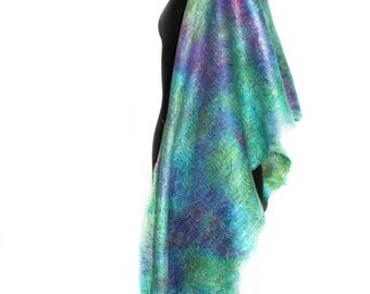 Handmade Felted Wrap Scarf Hand Dyed Multicolor Long Wool Silk Felted Scarf OOAK Felt Gift Summer Fashion