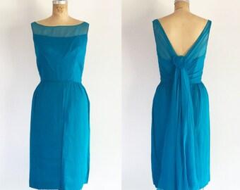 1960s Blue Chiffon Dress V-Back Train Vintage Sixties Formal Party Dress XS/S