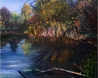 Fall Nature Center Lake Plein Air Landscape - 12x16in Original Oil Painting