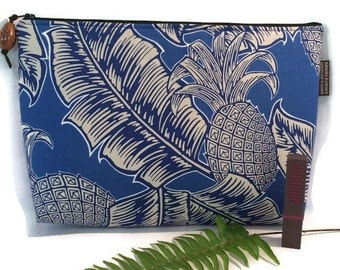 Pineapple and Tropical Print Clutch. Blue. Koa Wood Zipper Pull. Handmade in Hawaii.