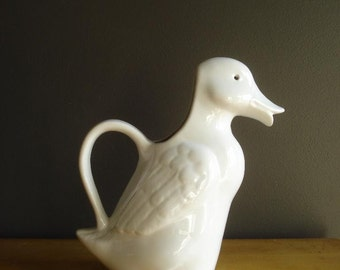 What the Duck VII - Vintage Duck Pitcher - Duck Shaped Water or Milk Ceramic Pitcher
