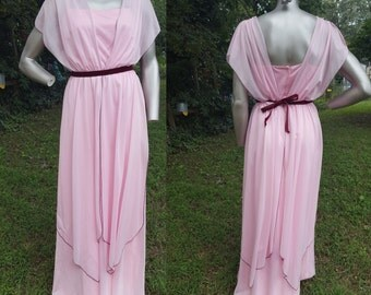 Grecian Style 70s Prom Dress / Vintage Bridesmaid Dress / Vintage Dress / Pink Prom Dress / 70s Dress Size 8-10