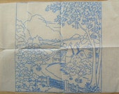 Vintage Iron On Transfer - Countryside Scene Embroidery Transfer Pattern - Vintage Transfer - Quaint Countryside View