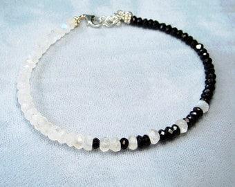 Moonstone Bracelet, Black Garnet Bracelet, Magick Goddess Metaphysical Gemstone Jewelry, Honor Light & Dark, Stacking, Layering Bracelet