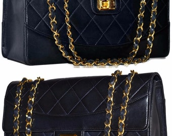 "CHANEL Paris Quilted Lambskin Leather 10.2"" Inch Single Flap Handbag With 2 Way Gold Chain Navy Shoulder Bag"