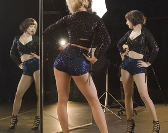 HighWaisted Sequin Scrunched-Up Booty Short!