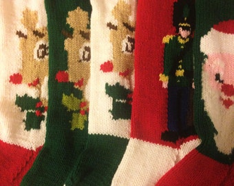 Christmas Stockings Set Of Five , Personalized Knit Stockings, Personalized Set Christmas Stockings,