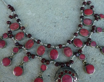 A Pretty  Afghan Tribal Necklace. Red Stones. Hand made.