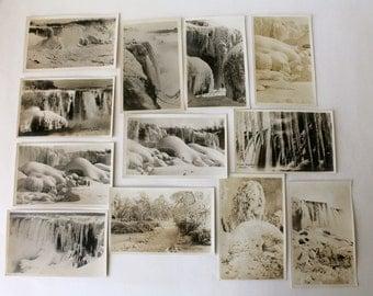 Vintage RPPC Postcards Niagara Falls NY Winter Scenes, Frozen Waterfalls, Ice Mountains, Real Photo Postcards Lot 14 AZO 1930s 1940s