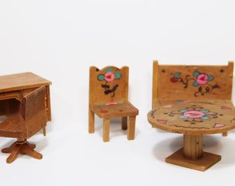 Vintage DollHouse Miniatures Furniture Dollhouse Desk Chair Table Chairs Bench