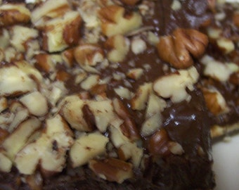 New Item Best Toffee Bars Ever Topped with Semi Sweet Chocolate and Chopped Pecans